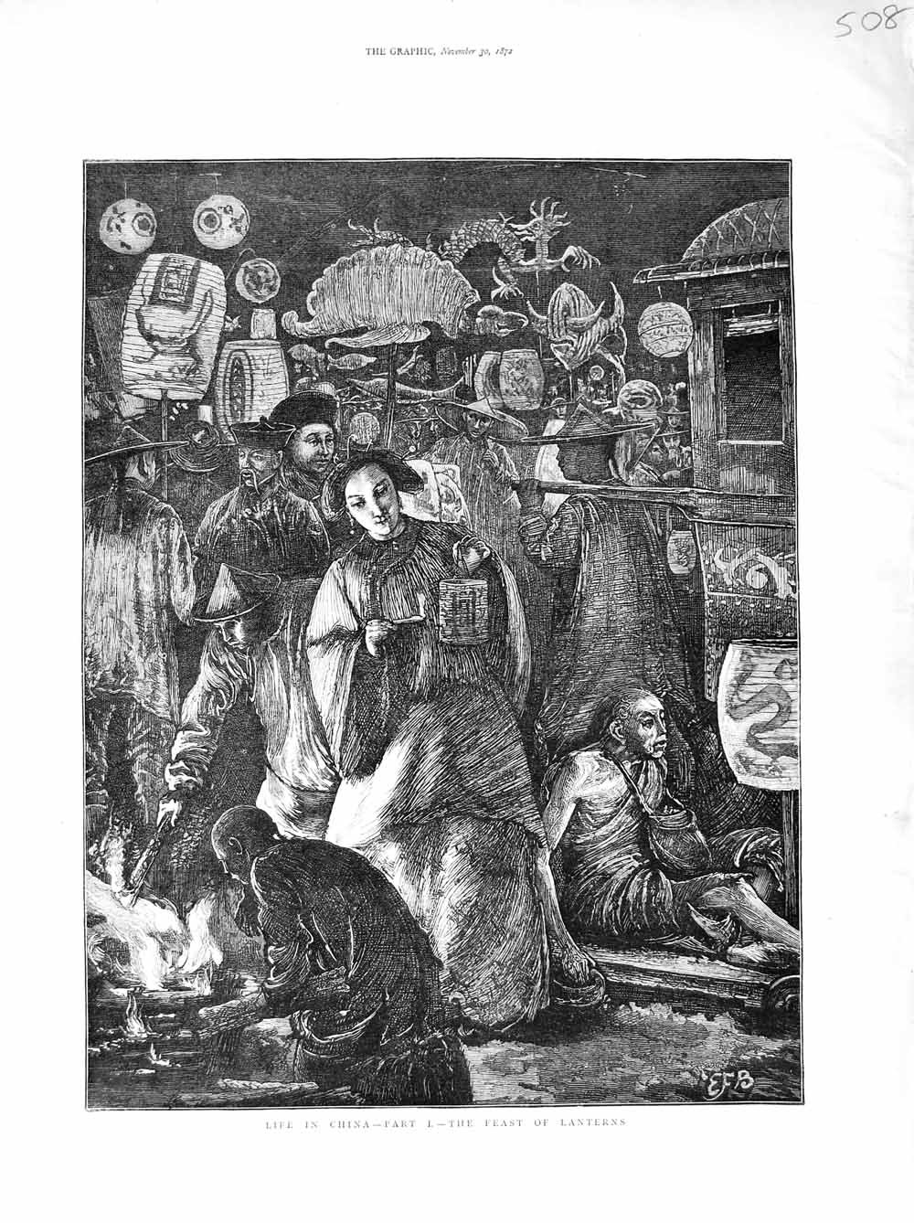 [Print 1872 Life China Feast Lanterns Ladies Men Street  Old Original]