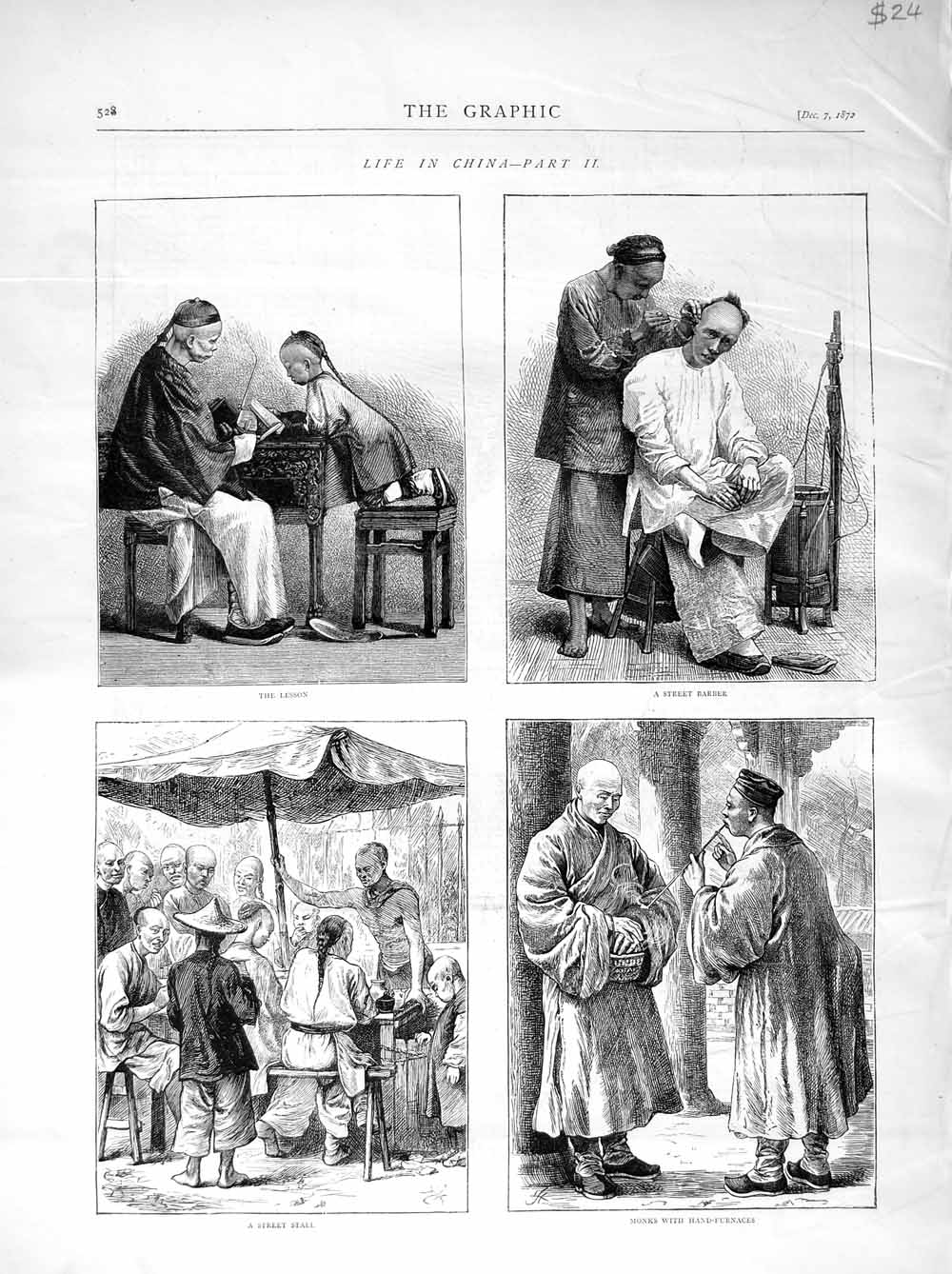 [Print 1872 China Street Barber Stall Monks Hand-Furnaces  Old Original]