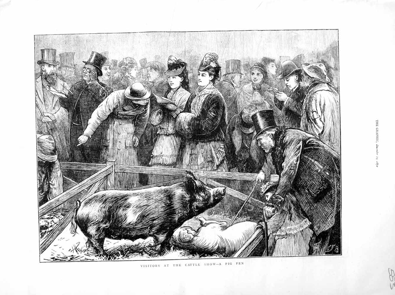 [Print 1872 Cattle Show Pig Pen Animals Agriculture People Old Original]