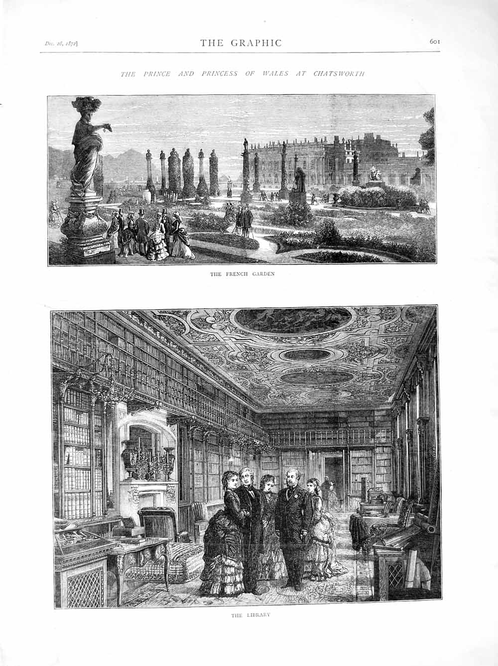 [Print 1872 Prince Wales Chatsworth French Garden Library  Old Original]