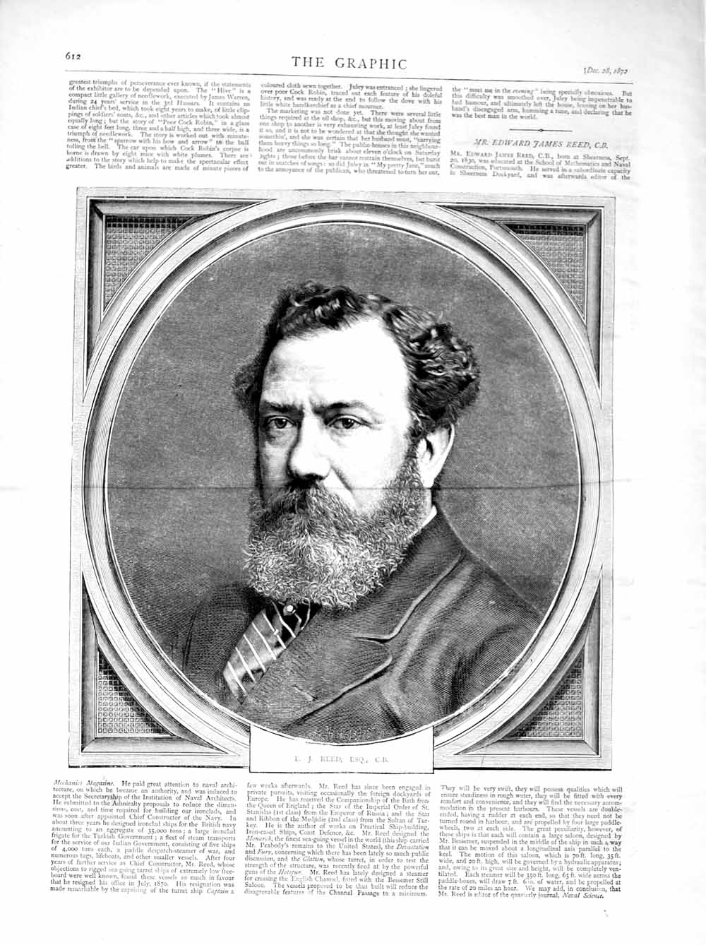 [Print 1872 Portrait Edward James Reed Naval Architect Old Original]