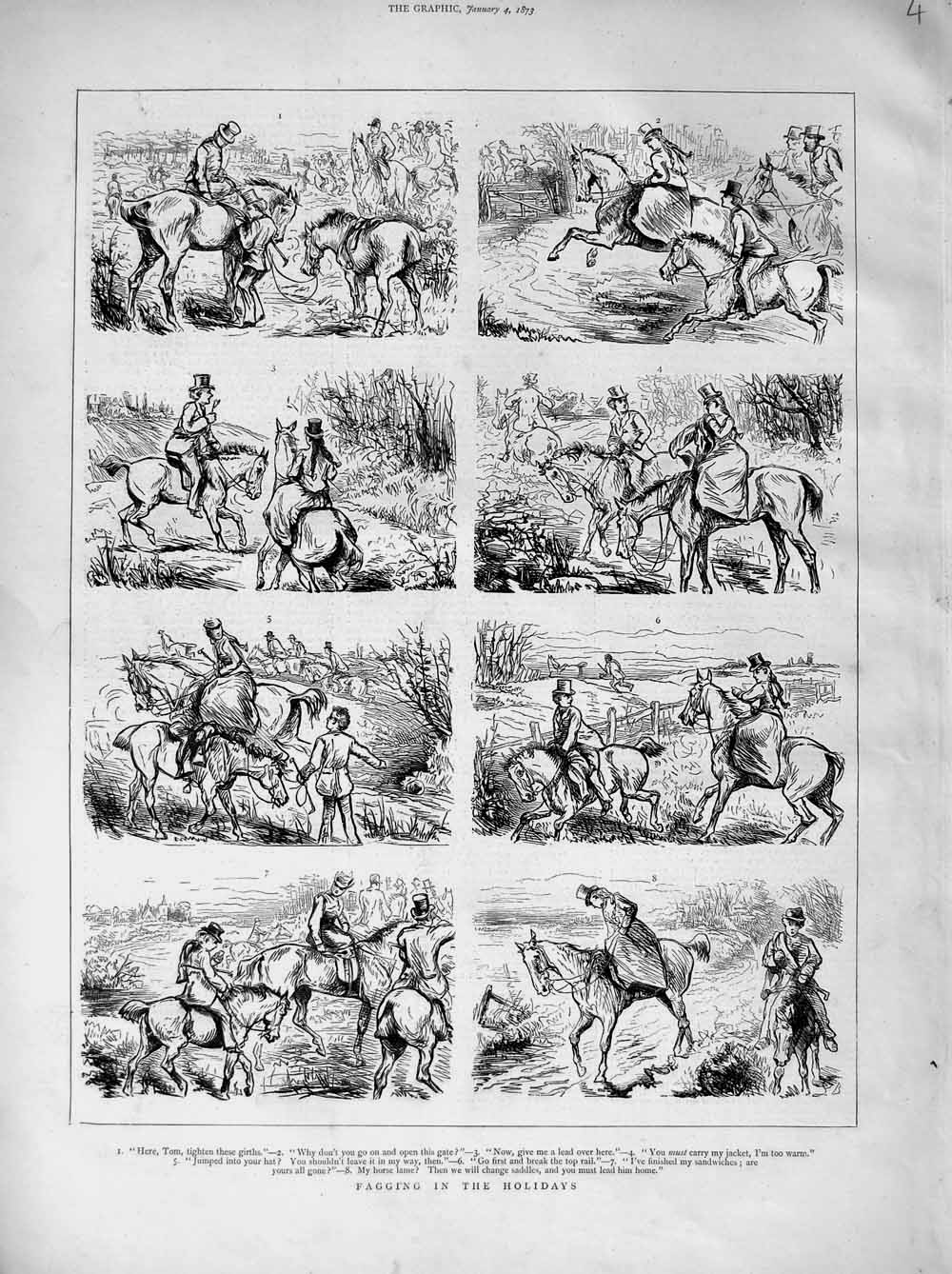 [Print 1873 Fagging Holiday Hunting Sport Horses Country 004M107 Old Original]