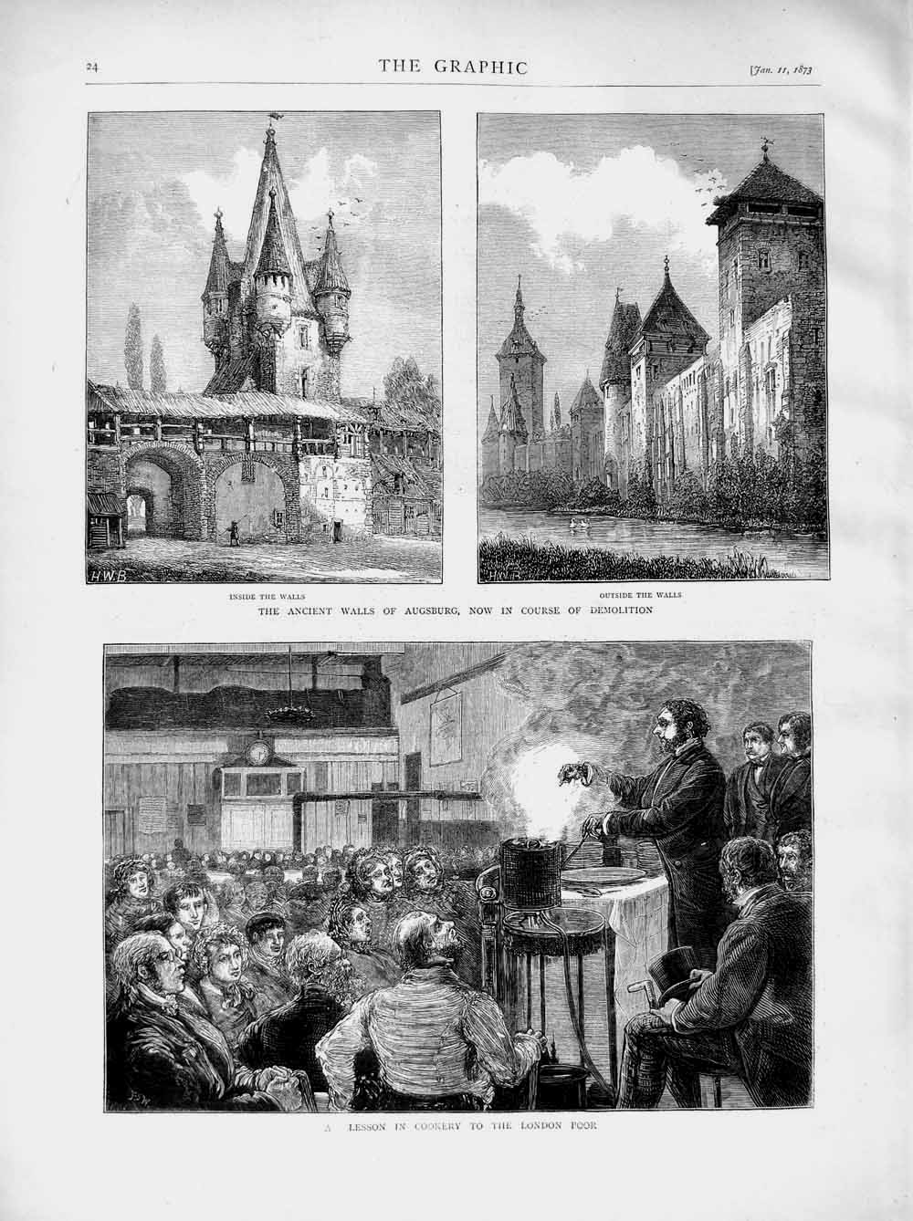 [Print 1873 Cookery Lesson London Augsburg Ancient Walls 024M107 Old Original]