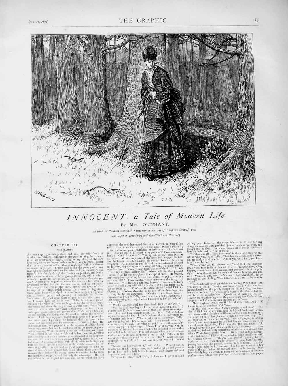 [Print 1873 Illustration Story Innocent Lady Country Trees 029M107 Old Original]
