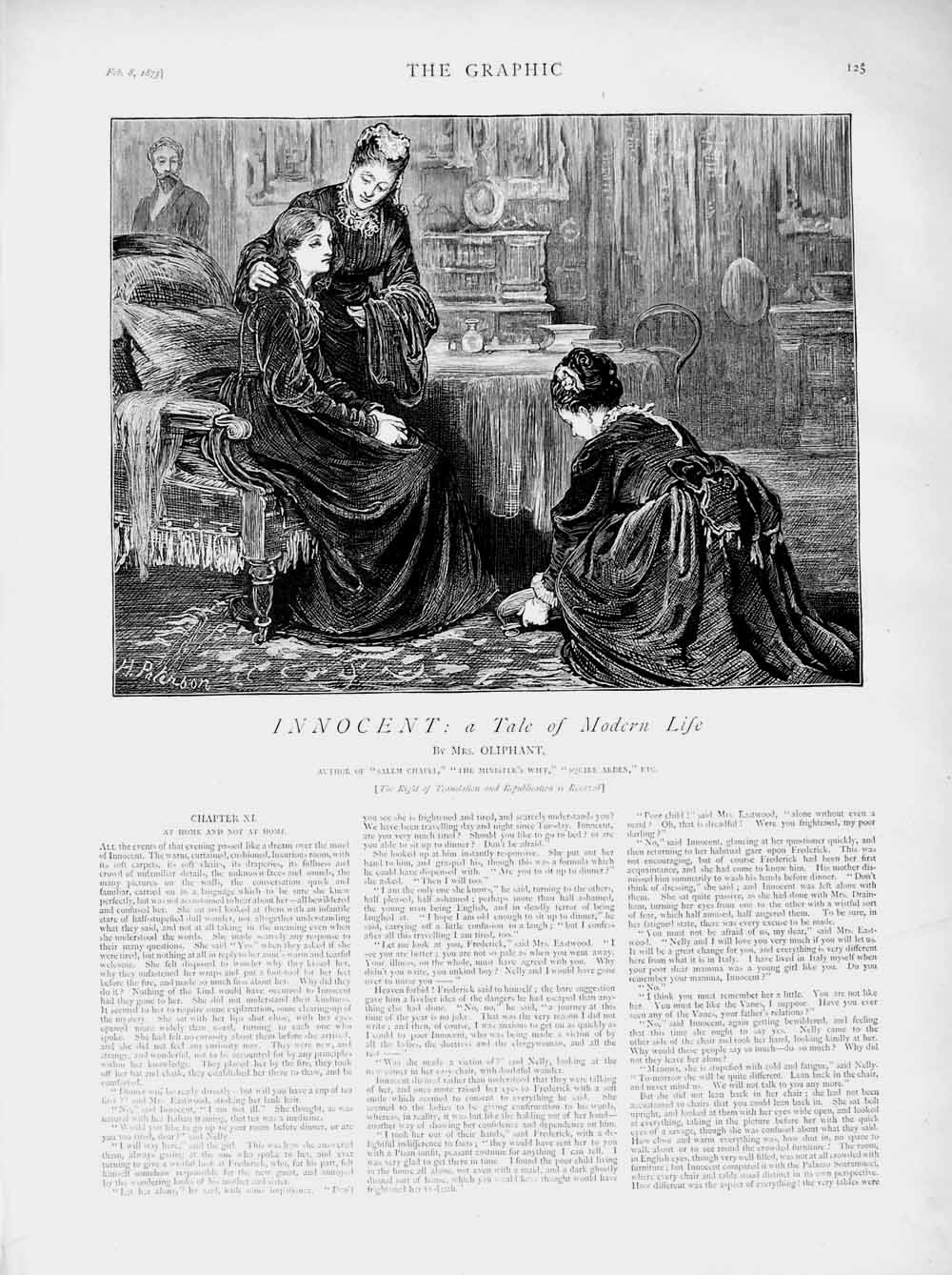 [Print 1873 Illustration Story Innocent Lady Servant Maids 125M107 Old Original]