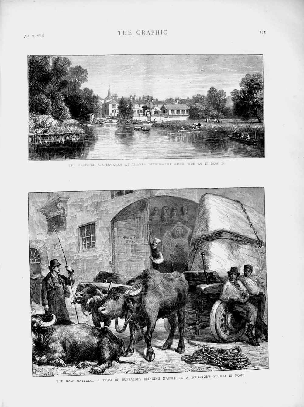 [Print 1873 Waterworks Thames Ditton Buffaloes Marble Rome 145M107 Old Original]