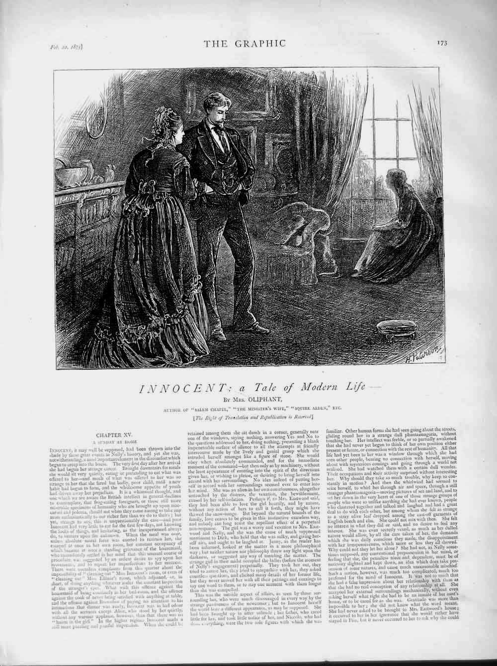 [Print 1873 Illustration Story Innocent Man Woman House 173M107 Old Original]