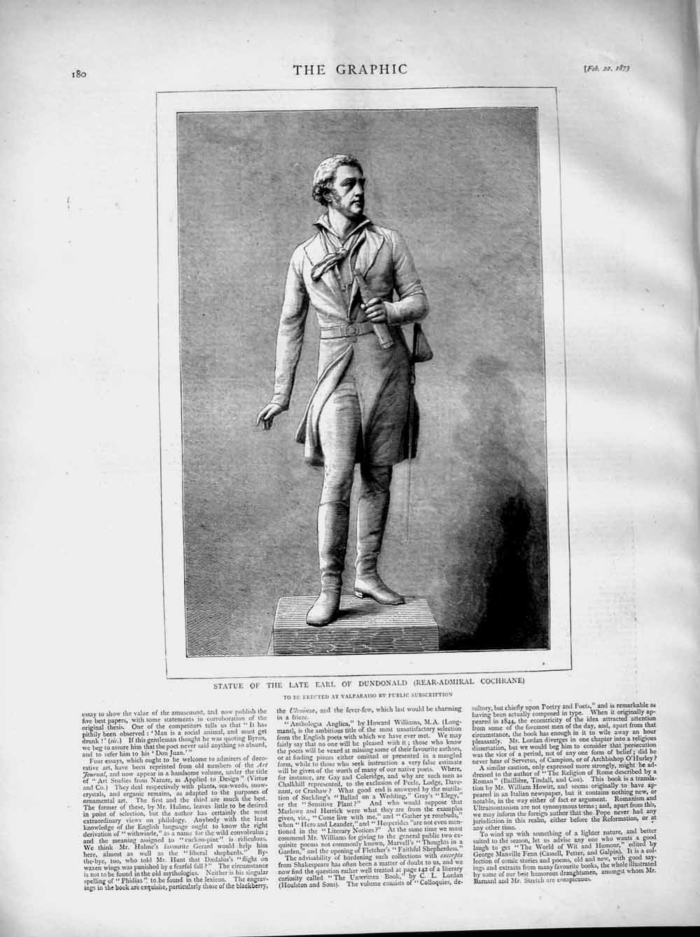 [Print 1873 Statue Earl Dundonald Real-Admiral Cochrane Man 180M107 Old Original]