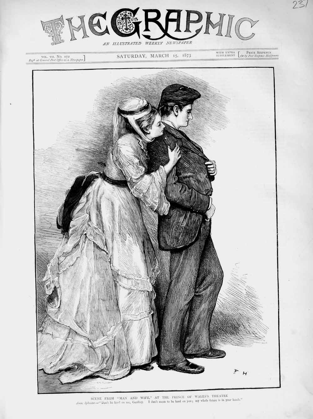 [Print 1873 Scene Man Wife Prince Wales Theatre Anne Sylvester 237M107 Old Original]