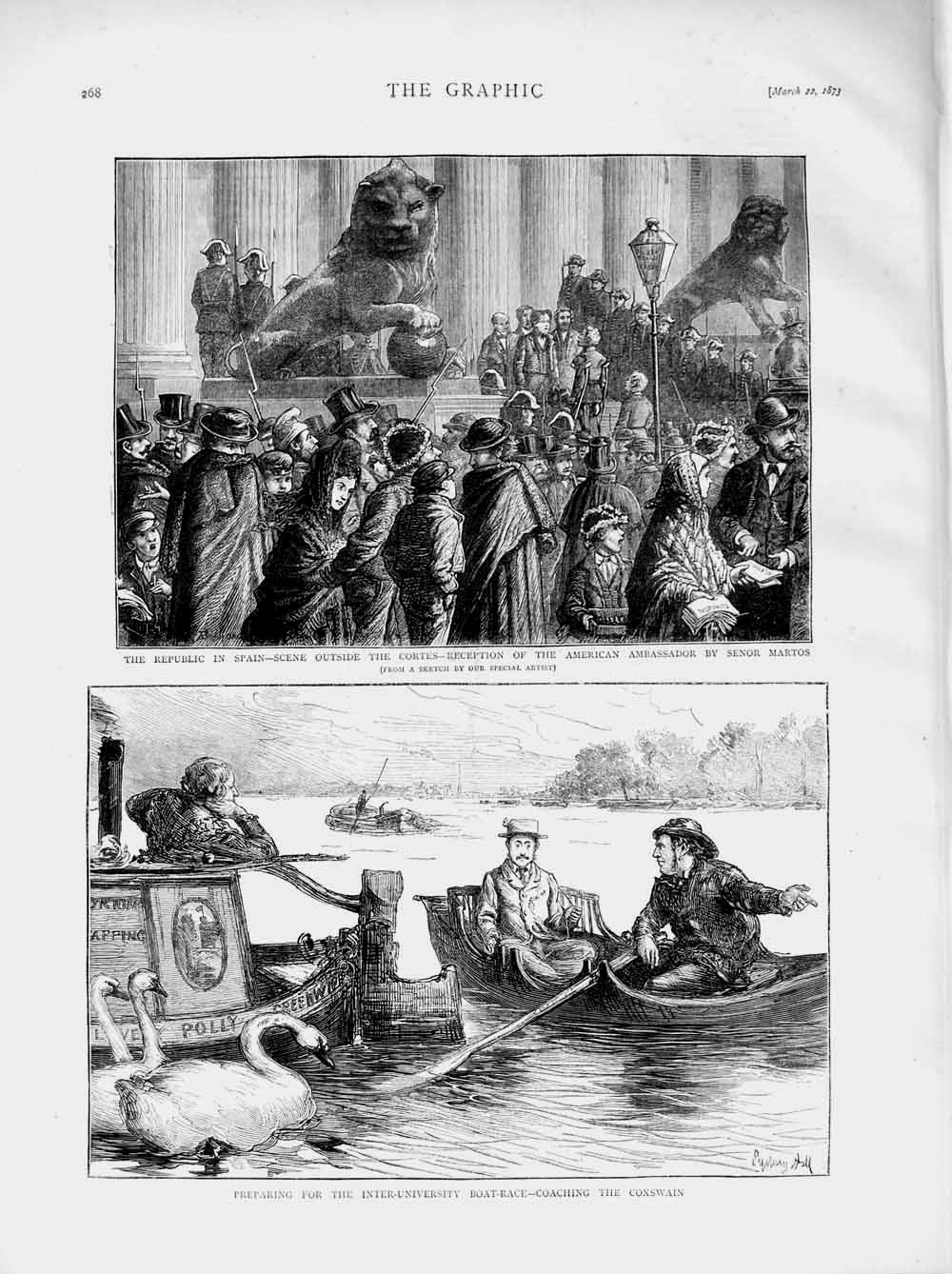 [Print *3049 1873 Spain Cortes Senor Martos University Boat Race 268M107 Old Original]