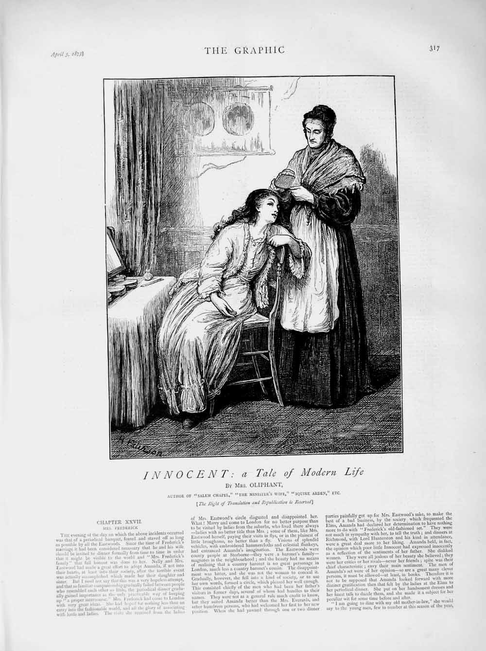 [Print 1873 Illustration Story Innocent Lady Woman House Chair 317M107 Old Original]
