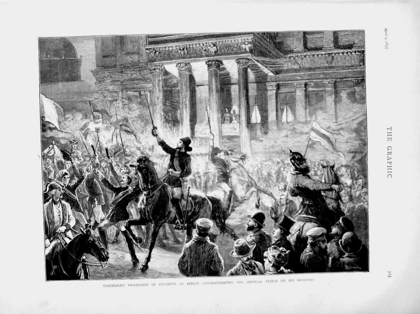 [Print 1873 Students Berlin Imperial Prince Procession Horses 325M107 Old Original]