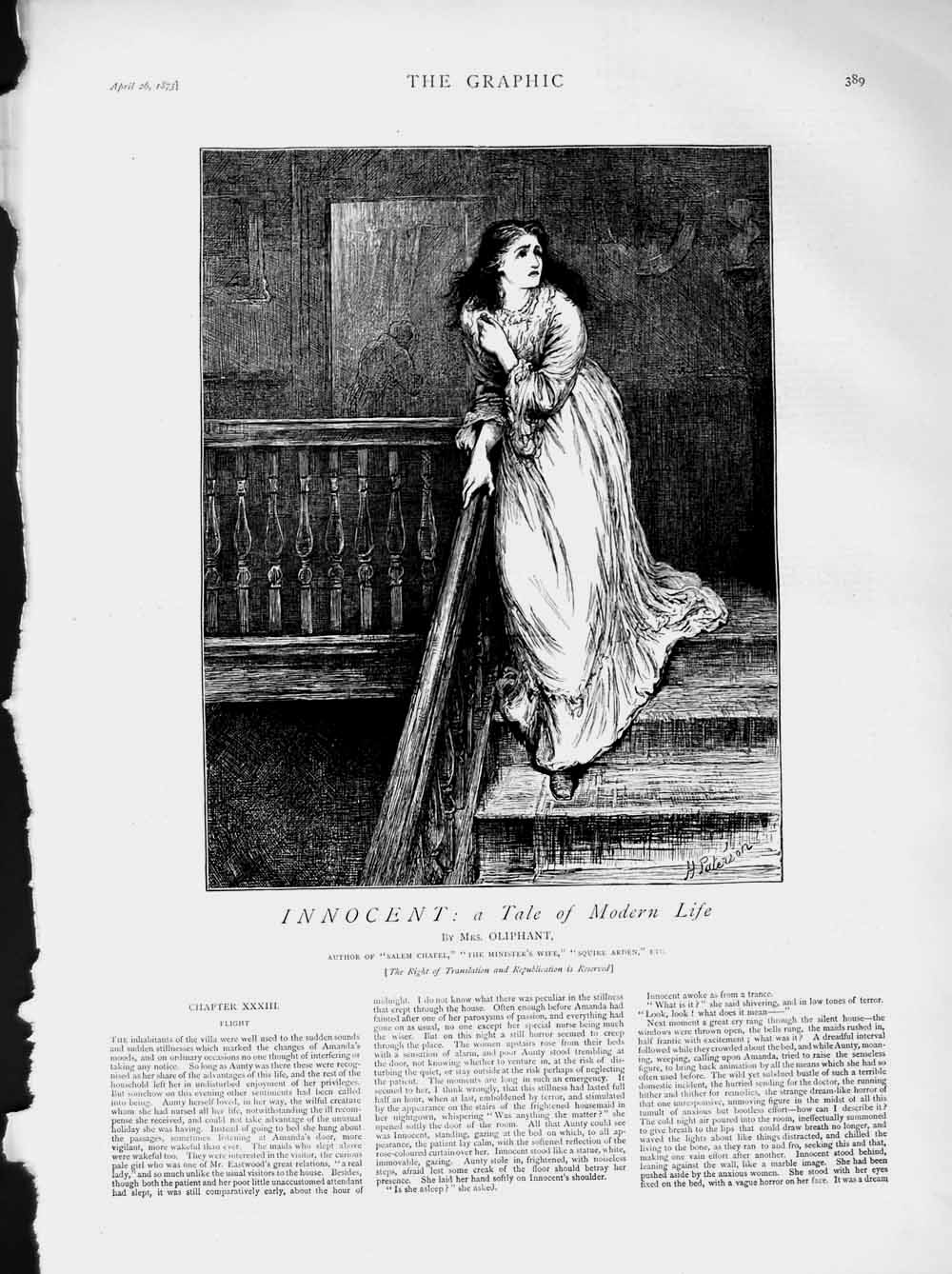 [Print 1873 Illustration Story Innocent Young Woman Stairs 389M107 Old Original]
