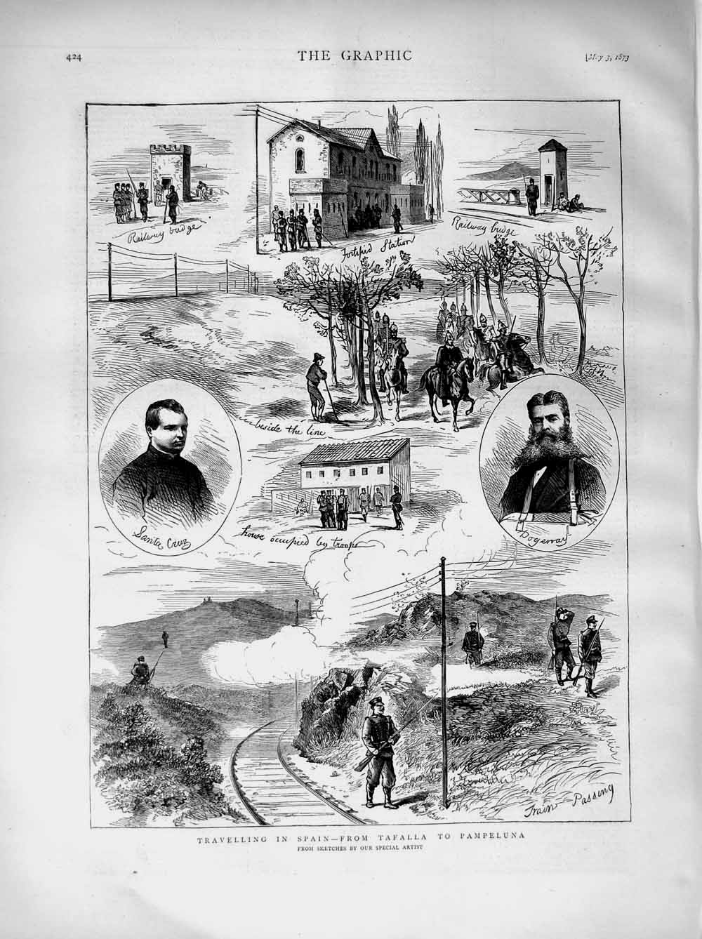[Print 1873 Transport Spain Train Tafalla Pampeluna Cruz Army 424M107 Old Original]