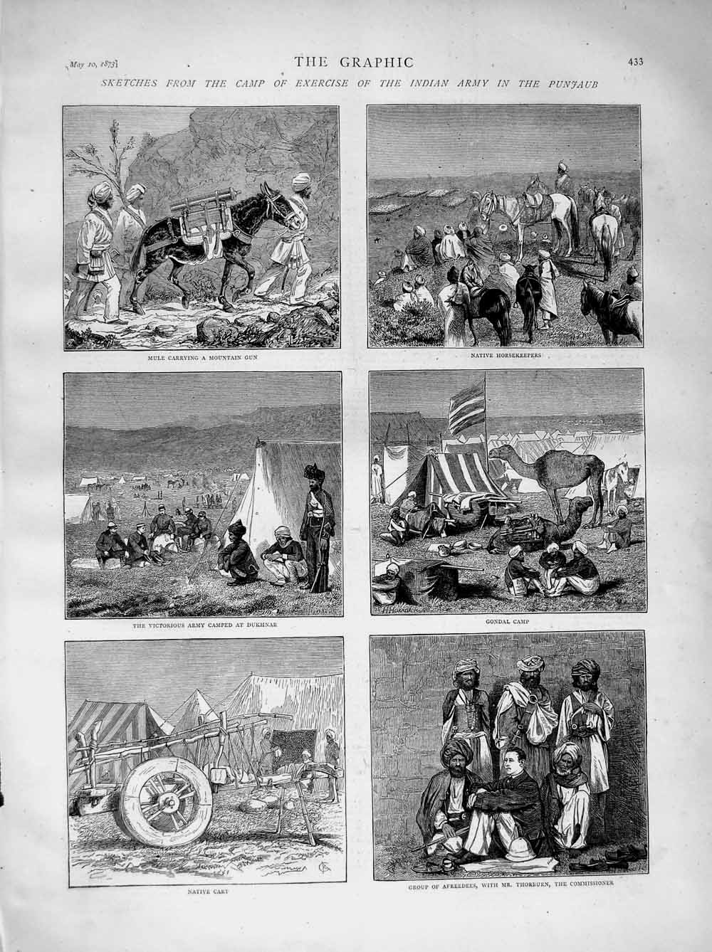 [Print 1873 Indian Army Camp Punjaub Afreedees Dukhnar Gondal 433M107 Old Original]