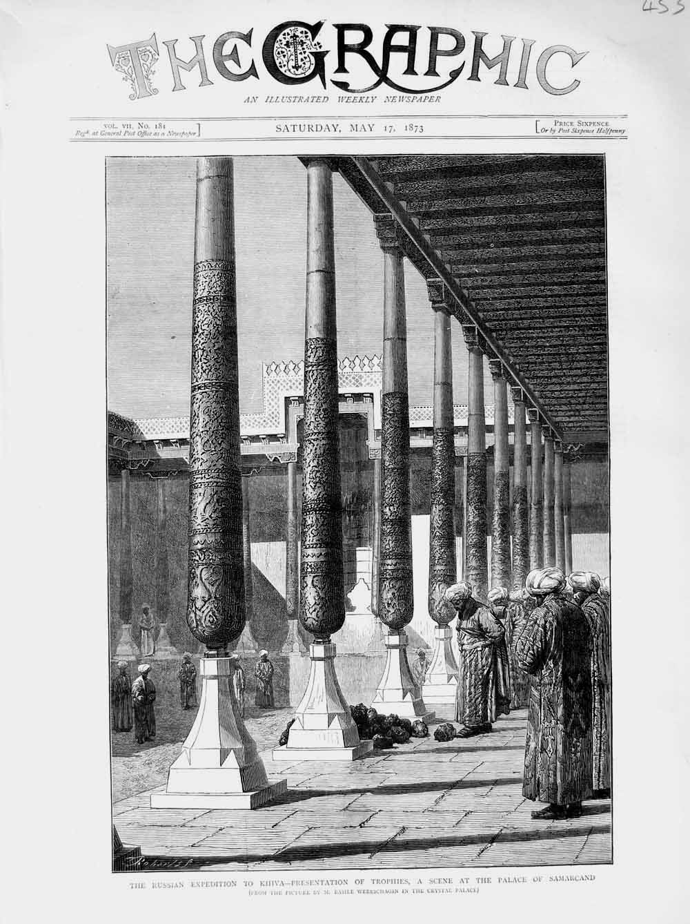 [Print 1873 Khiva Trophies Palace Samarcand Russian Expedition 453M107 Old Original]