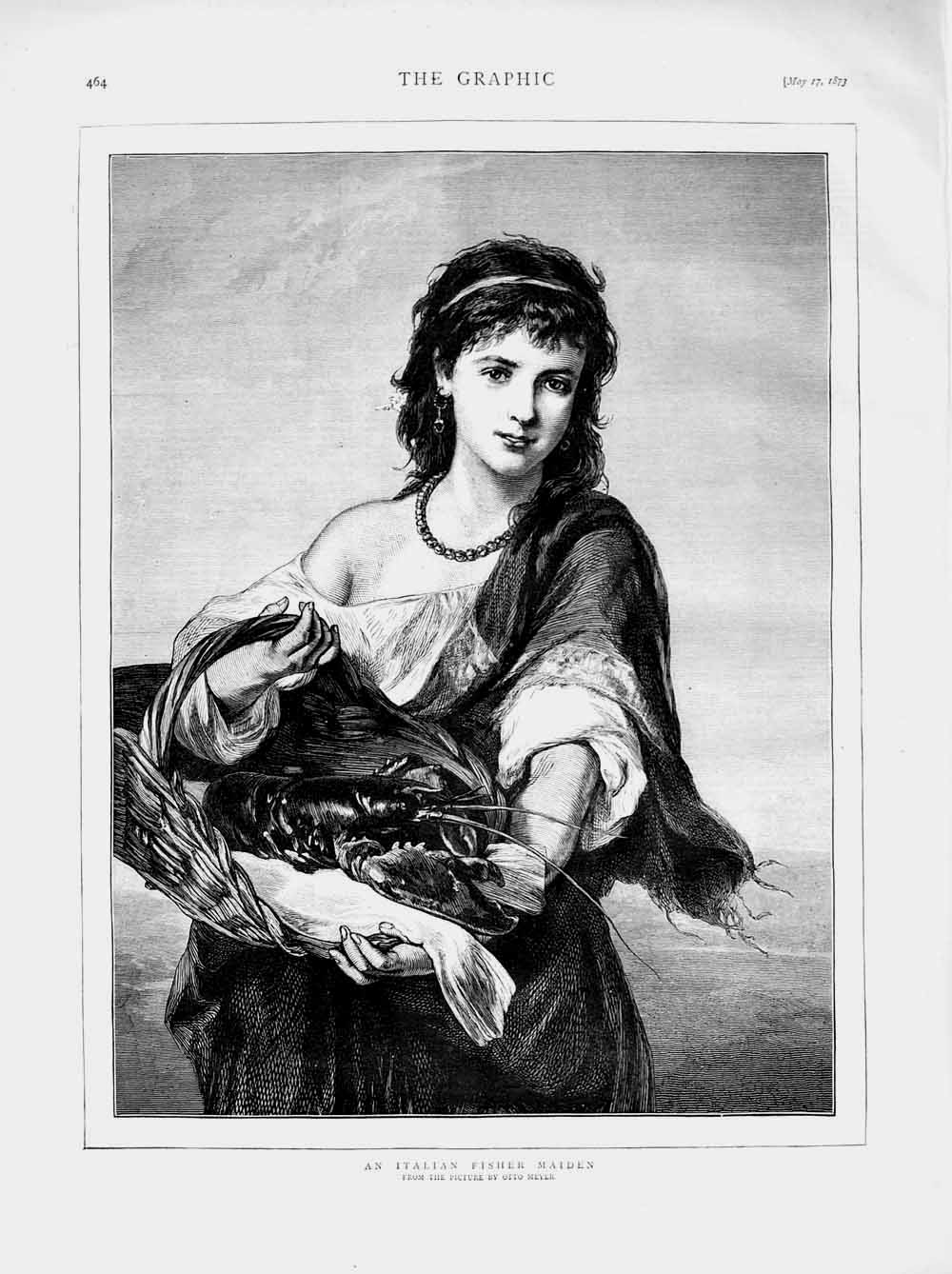 [Print 1873 Portrait Italian Fisher Maiden Girl Meyer 464M107 Old Original]