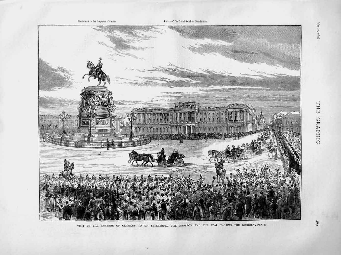 [Print 1873 Emperor Germany Petersburg Czar Nicholay-Place 469M107 Old Original]