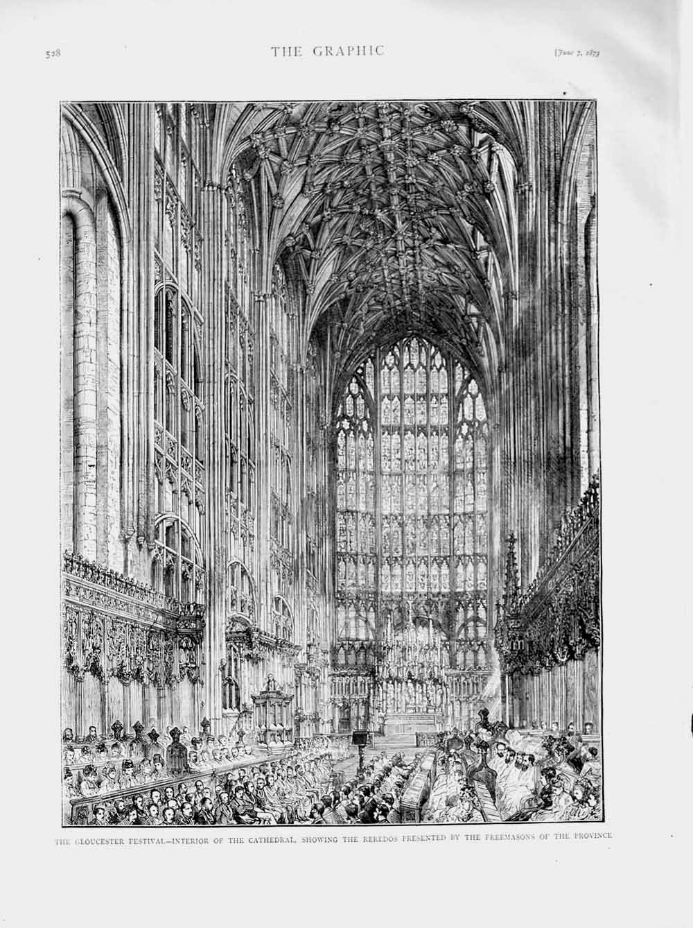 [Print 1873 Gloucester Festival Cathedral Reredos Freemasons 528M107 Old Original]