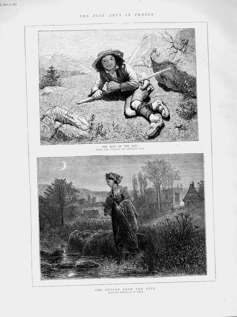 [Print 1873 Fine Art France Alps Mountains Boy Lady Stream 538Am107 Old Original]