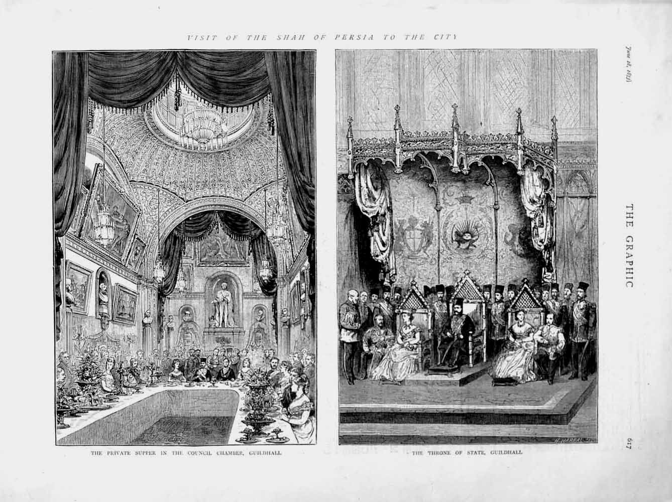 [Print 1873 Shah Persia London Guildhall Throne State Council 617M107 Old Original]