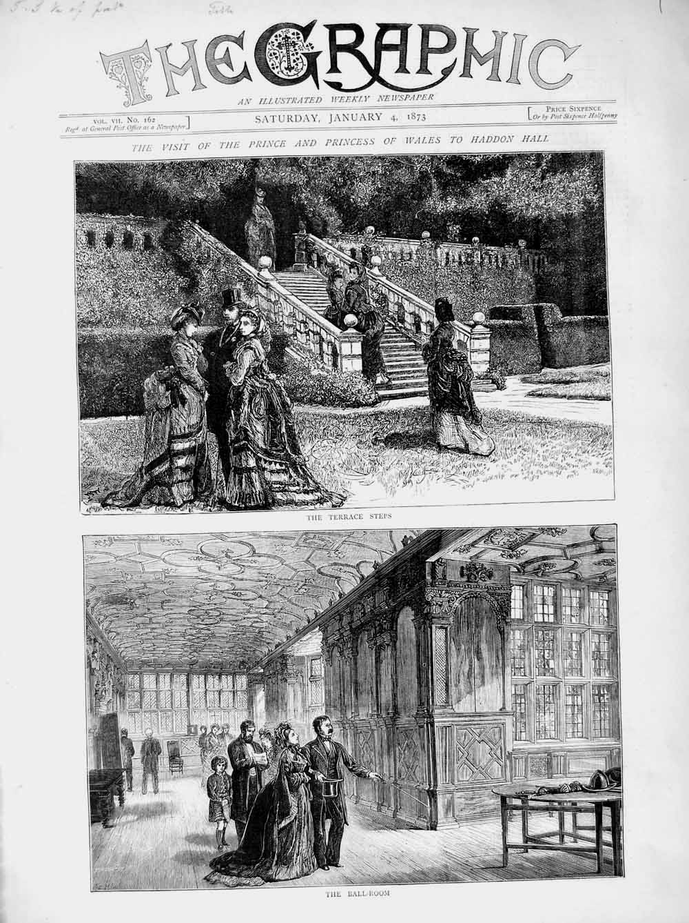 [Print 1873 Prince Wales Haddon Hall Terrace Steps Ball-Room  Old Original]