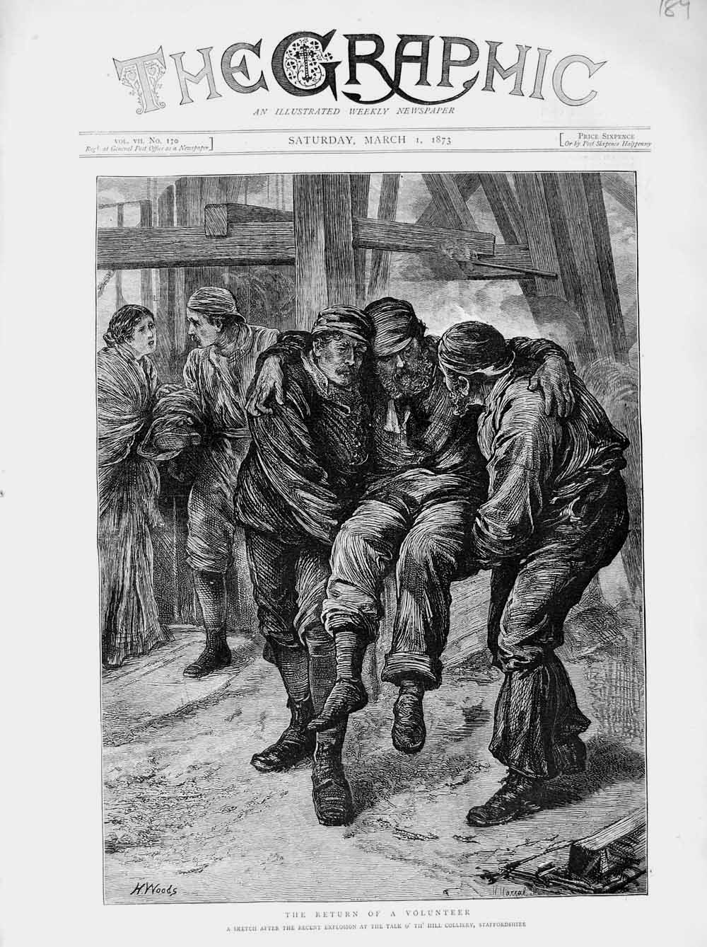 Print 1873 Explosion Mining Colliery Staffordshire Talk Hill  Old Original