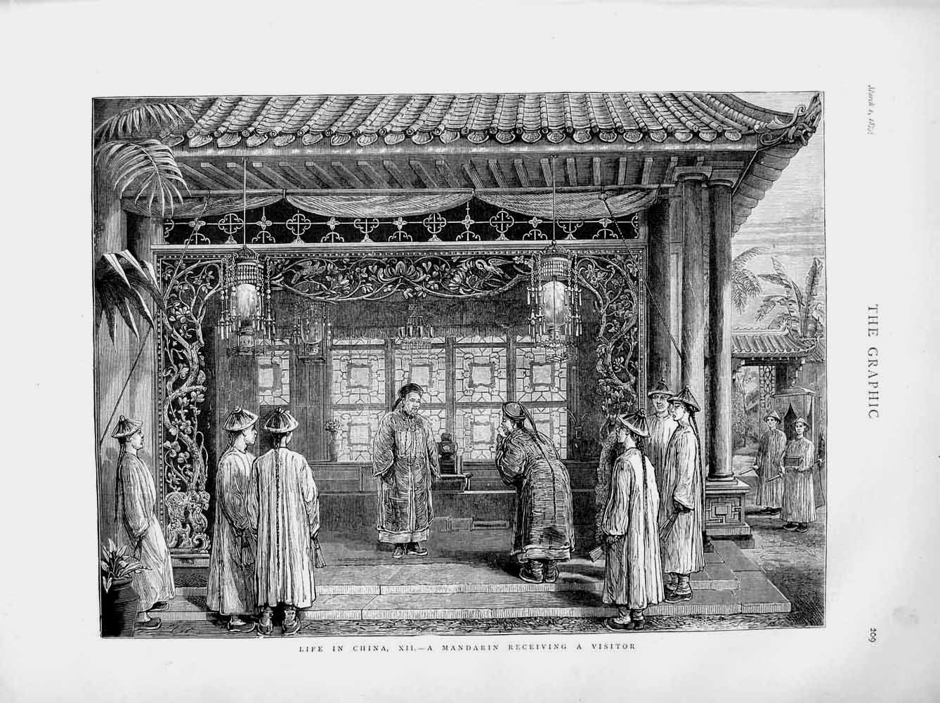 Print 1873 Life China Scene Mandarin Receiving Visitor  Old Original