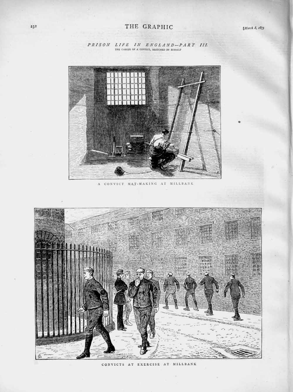 [Print 1873 Prison Life England Convict Mat-Making Millbank  Old Original]