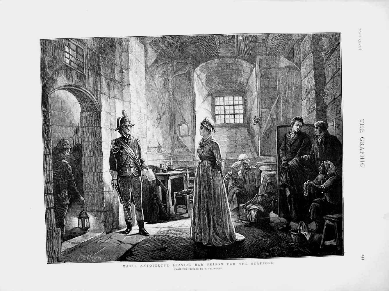 Print 1873 Marie Antionette Prison Men Pellegrin Fine Art  Old Original