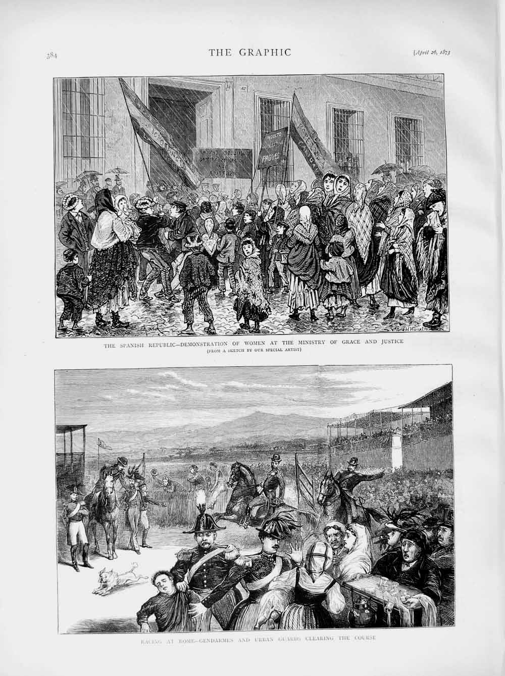Print 1873 Racing Sport Rome Spanish Republic Ministry Grace  Old Original
