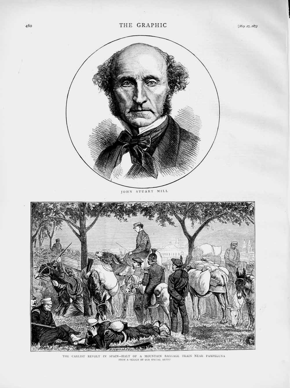 [Print 1873 Portrait John Stuart Mill Carlist Spain Pampeluna Old Original]