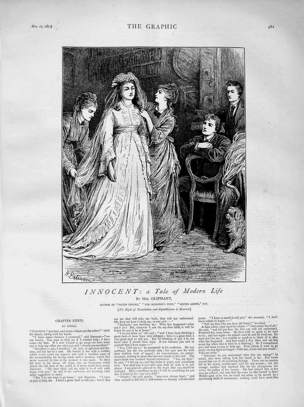Print 1873 Illustration Story Innocent Wedding Ladies Dog  Old Original