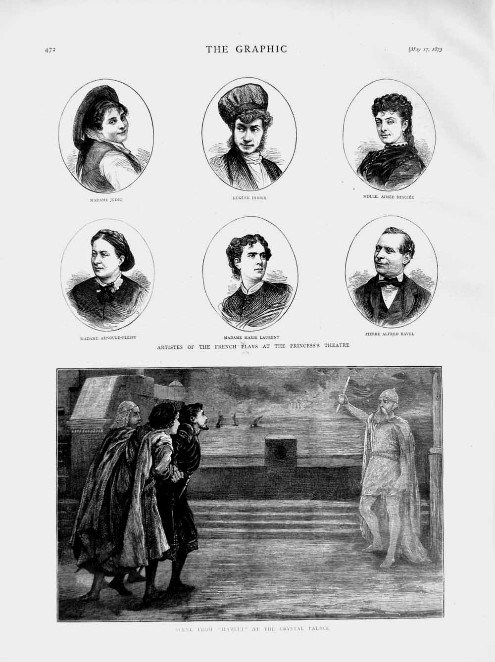 Print 1873 Theatre Hamlet Crystal Palace Princess Didier  Old Original