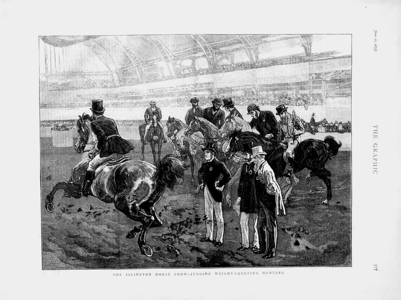 Print 1873 Islington Horse Show Judging Hunters  Old Original