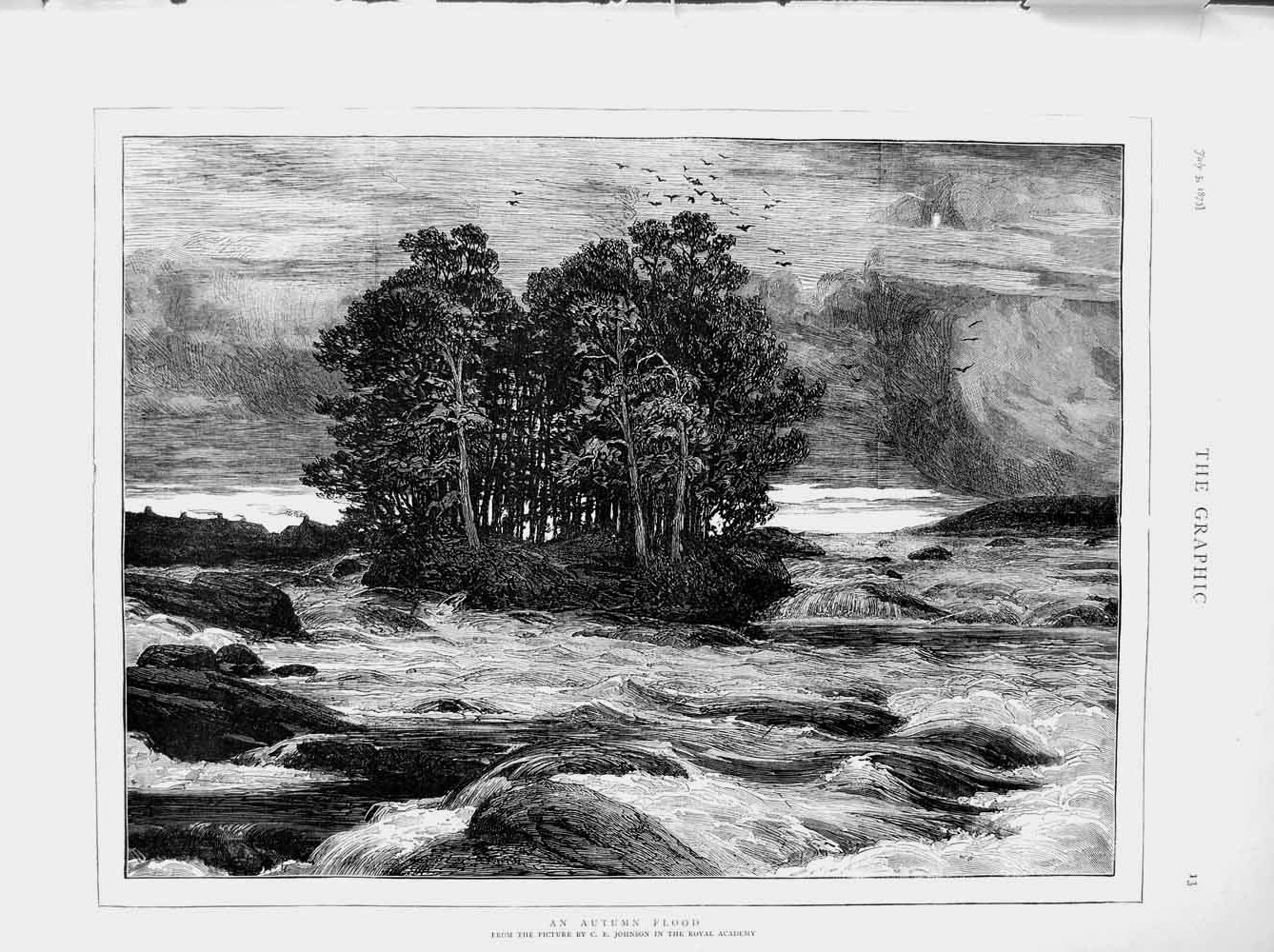 [Print 1873 Autumn Flood River Countryside Trees Fine Art 013M108 Old Original]