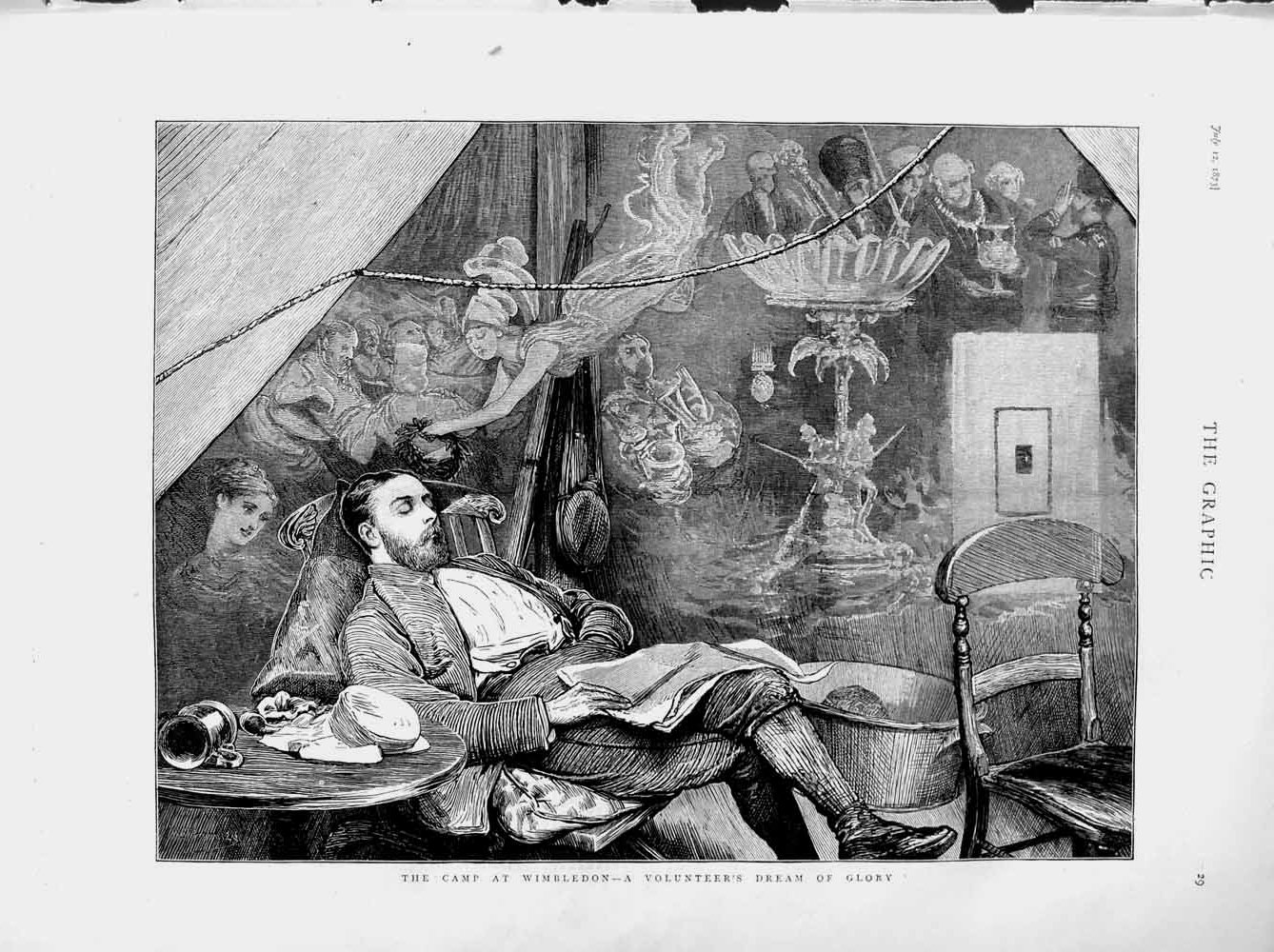 [Print 1873 Rifle Shooting Camp Wimbledon Volunteer Man Sleep 029M108 Old Original]