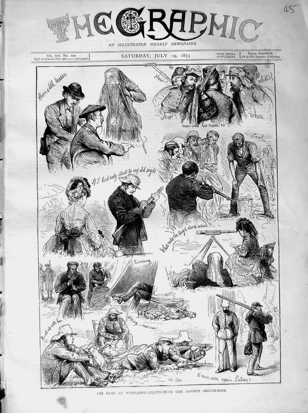 [Print 1873 Rifle Shooting Camp Wimbledon Soldiers Sport 045M108 Old Original]