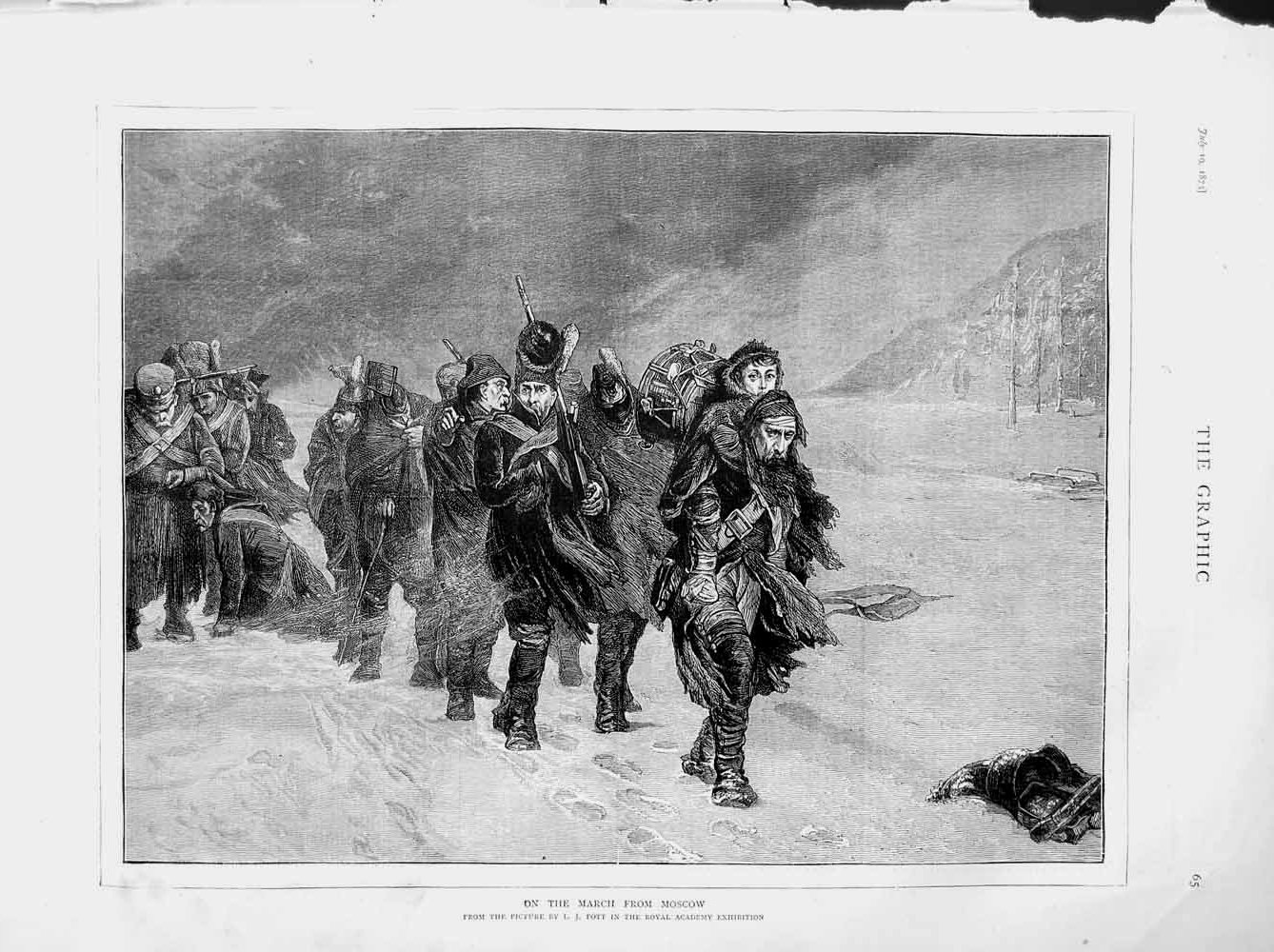 [Print 1873 Soldiers Marching Snow Moscow War Pott 065M108 Old Original]