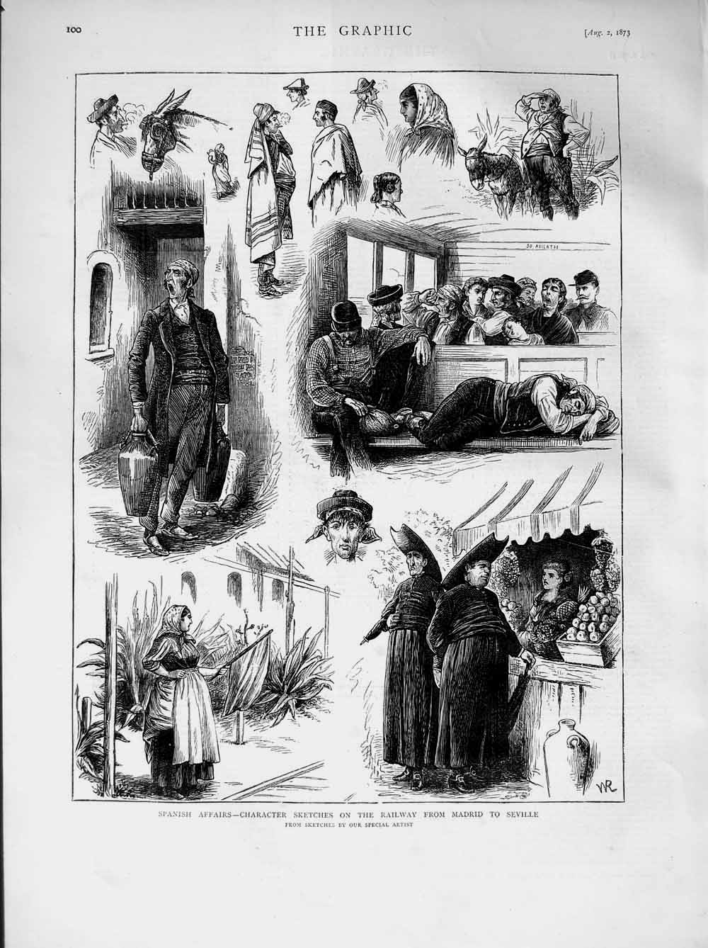 [Print 1873 Spain Character Sketches Railway Madrid Seville 100M108 Old Original]
