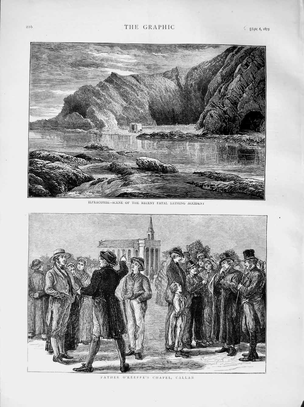 [Print 1873 Ilfracombe Wales Father O'Keeffe'S Chapel Callan 216M108 Old Original]