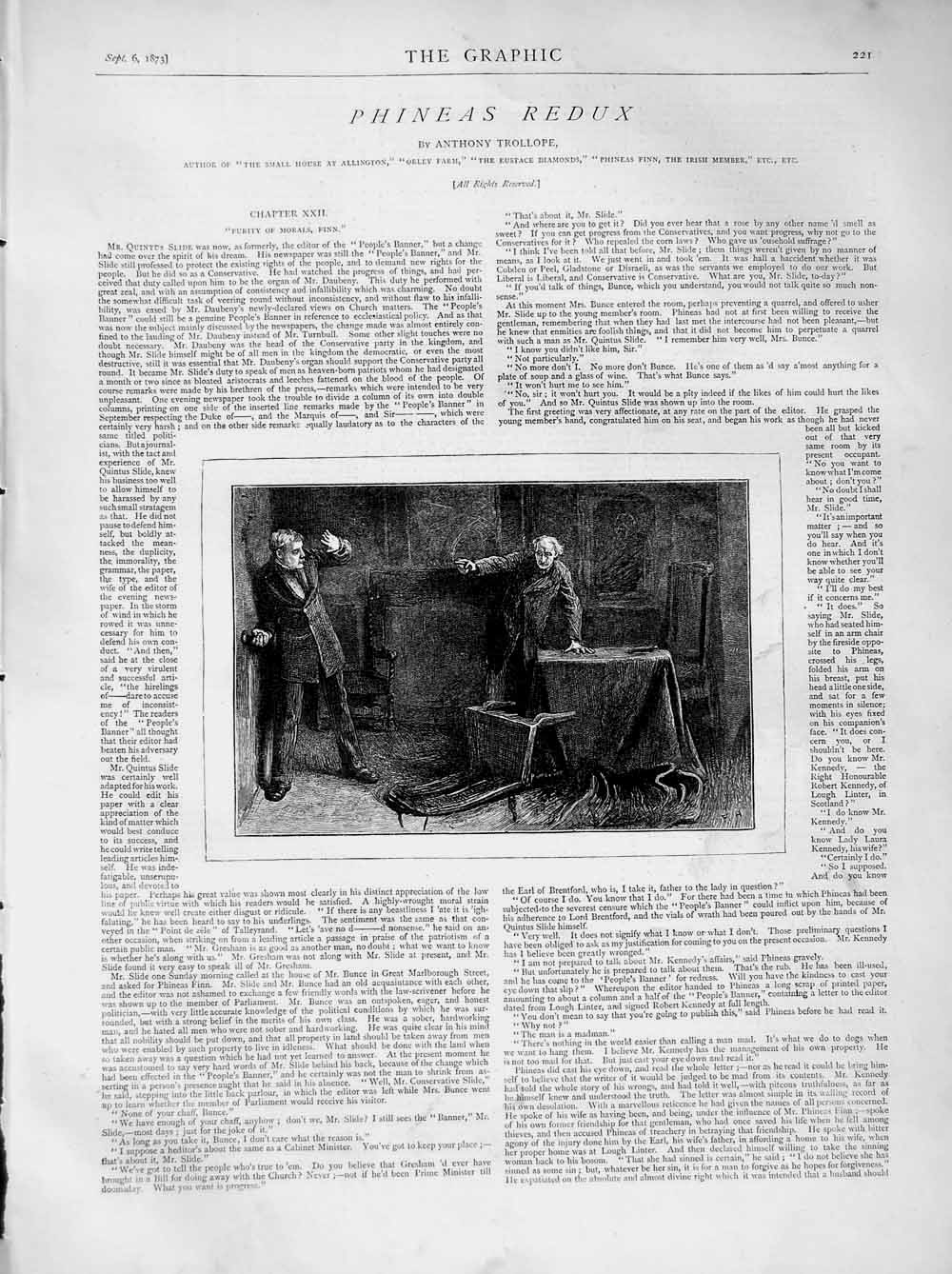 [Print 1873 Illustration Story Phineas Redux Men Table Fight 221M108 Old Original]