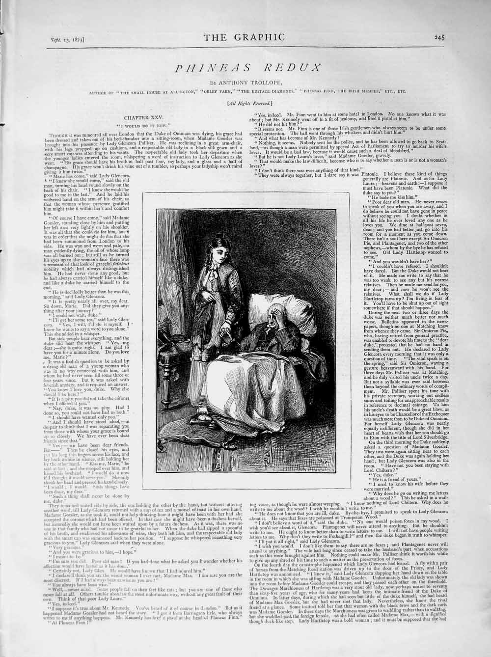 [Print 1873 Illustration Story Phineas Redux Man Chair 245M108 Old Original]