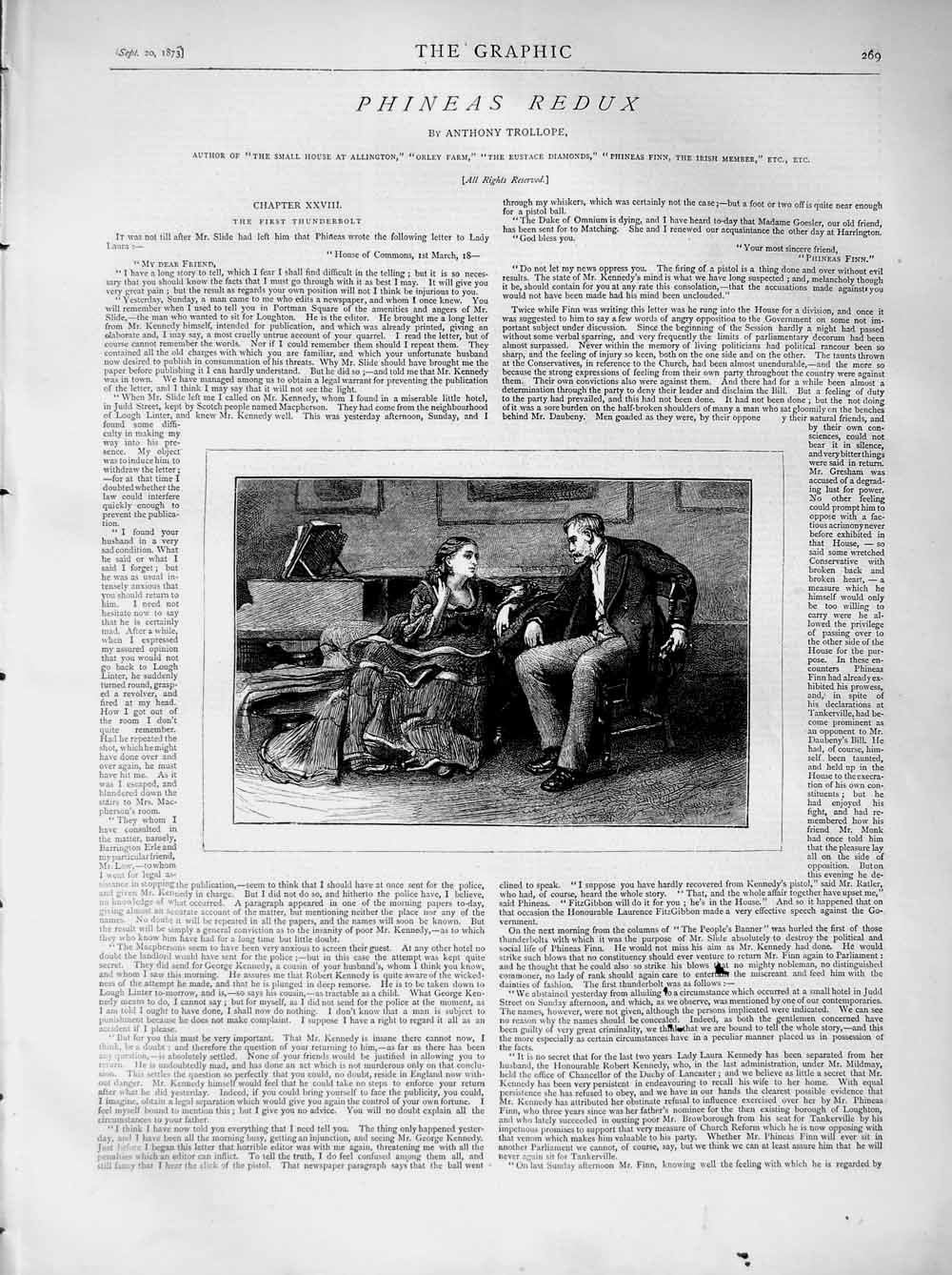 [Print 1873 Illustration Story Phineas Redux Man Lady Romance 269M108 Old Original]