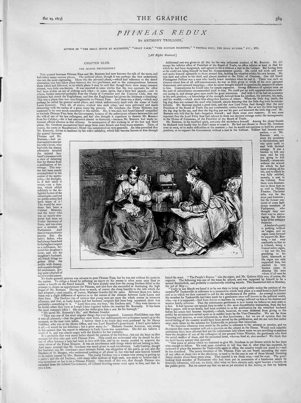 [Print 1873 Illustration Story Phineas Redux Ladies Sewing 389M108 Old Original]