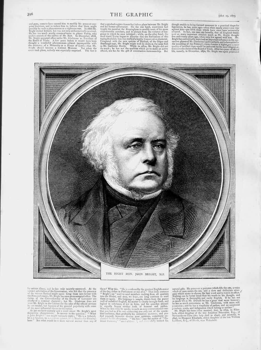 [Print 1873 Portrait Right Hon. John Bright Parliament 396M108 Old Original]