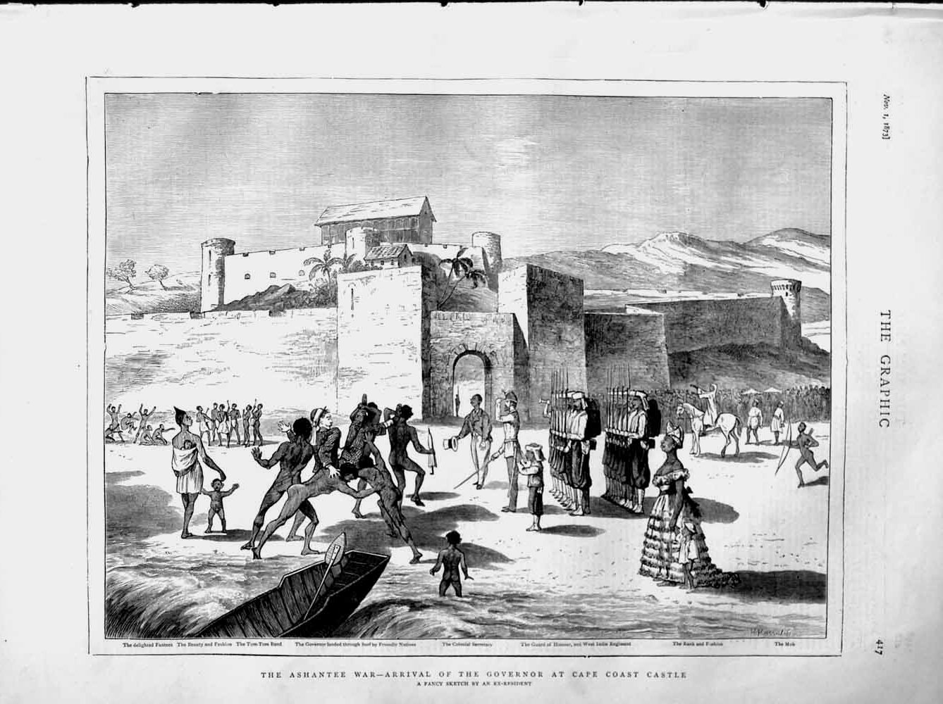 [Print 1873 Ashantee War Cape Coast Castle Governor Fantees 417M108 Old Original]