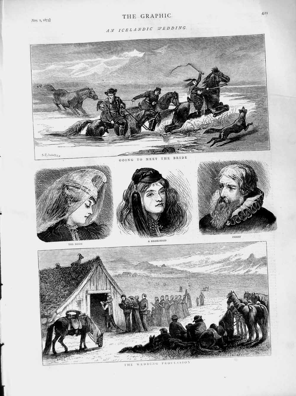[Print 1873 Icelandic Wedding Procession Bride Priest Horses 421M108 Old Original]