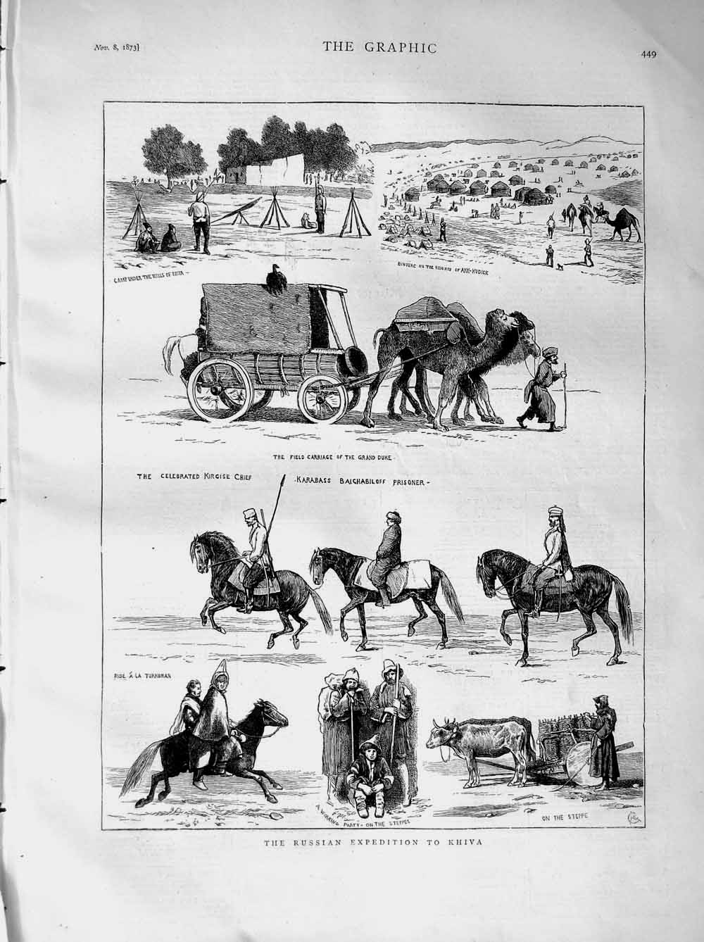 [Print 1873 Russian Expedition Khiva Karabass Prisoner Steppe 449M108 Old Original]
