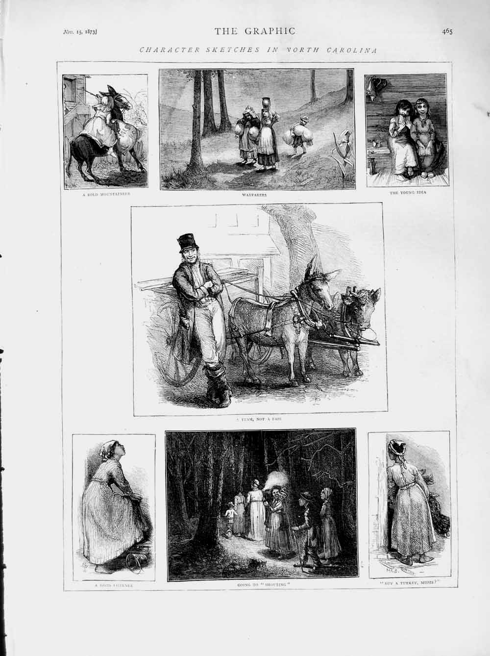 [Print 1873 North Carolina America Wayfarers Horses Trees 465M108 Old Original]
